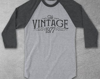 The Vintage 1977 Baseball Tee -  Birthday gifts for Women & Men -1977 T-Shirt - Graphic tee - Birthday tshirt - For men and women