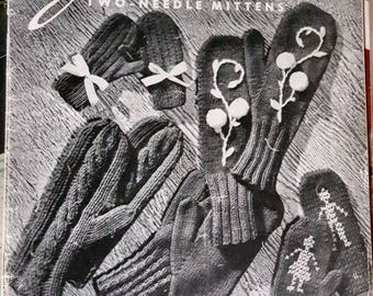 1955 Jack Frost Vol 56 Two Needle Mittens for the Family Knitting Pattern Books 2 in Stock!