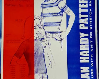 1972 Jean Hardy Patterns 400 Child's Tee Shirt Sizes 1-7 Uncut Sewing Pattern Retro Style