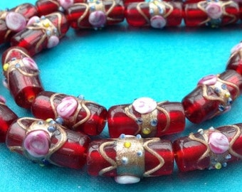 Red Lampwork Beads -- 1 strand