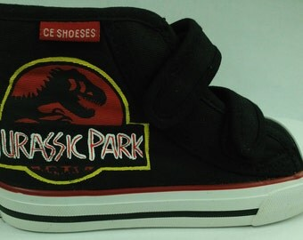 Custom hand painted Jurassic Park shoes