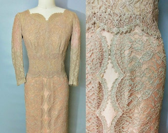 scalloped / taupe lace gown / late 1950s early 1960s / 4 6 8 small