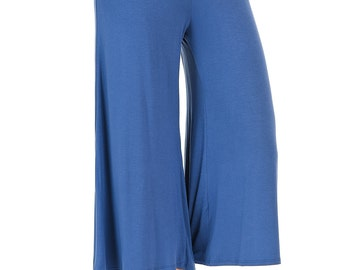 Elastic Waist Culottes Pants Denim