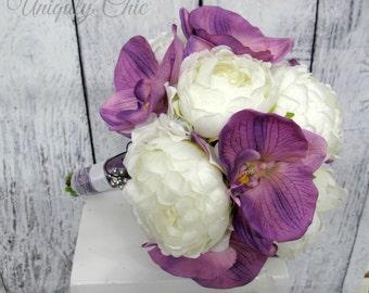 Wedding bouquet, Lavender Bride bouquet - Peony orchid Silk Wedding bouquet, White Bridal Flowers, Silk Wedding flowers