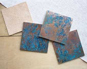 Patinated Copper Coaster Set