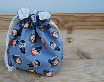Drawstring box bottom bag | Knitting project bag | Crochet project bag | One skein project | Toy bag | Harry Potter