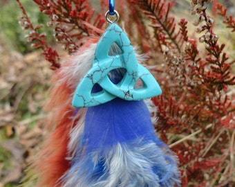 key ring blue howlite triquetra and feathers