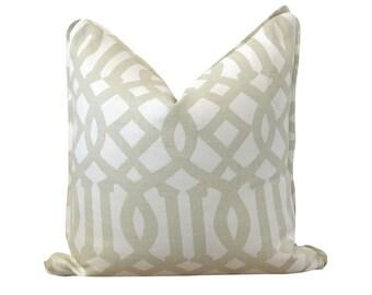 Taupe Pillow, Schumacher Fabrics, Imperial Trellis II, Decorative Pillow, Beige Pillow, Trellis Print Pillow, Throw Pillow, Sofa Pillow