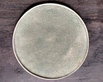 plate gray-blue cracle |  ceramic serving plate