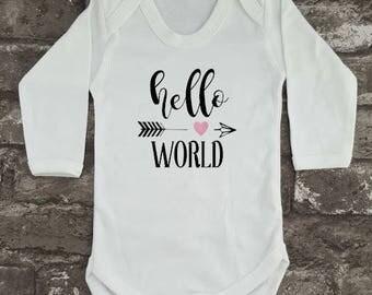 Hello World Bodysuit, Newborn Baby Vest, Baby Shower Gift, New Mom, New Dad, Birthday Gift, Cute Baby Grow, Baby Present, New Baby Gift