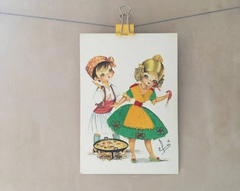Kitsch Spanish embroidered silk postcard -Elsi Gumier, applique, traditional dress, boy, girl, paella, romantic, couple, souvenir, 1980s