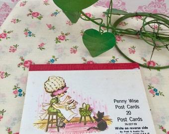 Vintage 1960s Penny Wise Postcards Ephemera, Kitschy Cute Mod Bonnet Girl Postcards, Set of 20 Vintage Postcards, Pratt & Austin Postcards