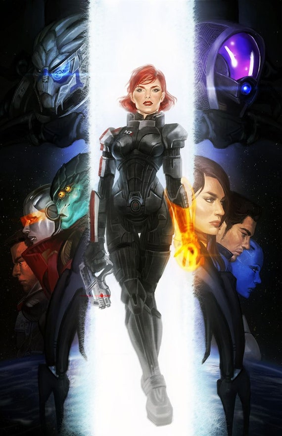 Mass Effect 3 Shepard  Normandy Crew Open Edition Art Print-1813