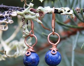 Lapis Earrings, Blue Earrings, Copper Earrings, Copper Wire Wrapped Earrings, Lapis Lazuli Earrings, Blue Lapis Earrings