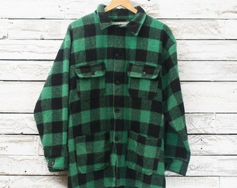 Vintage plaid jacket | Hunter jacket | Work jacket | Wool plaid coat | Wool jacket | Lumberjack jacket | Grunge coat