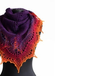 Purple red knit shawl, Purple shawl, lace shawl, lace wrap, gift for her, Hand knitted, Ombre