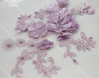 10 Colors 3D Flowers Exclusive Luxury Bridal  Lace with Beads and Stones for Ball Gown Prom Dress Wedding Dress by yard