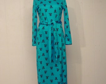 Vintage dress, 1970s dress, Asian dress, vintage clothing, medium
