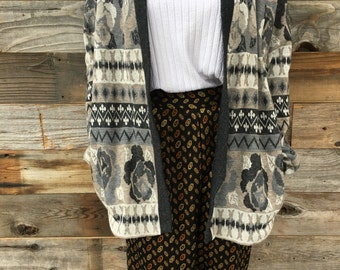 Vintage Open Print Sweater