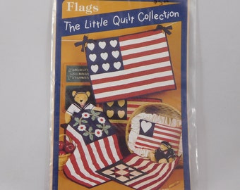 Little Flag Quilts Sewing Pattern, Scrap Quilts, 11x14 to 24x24 inches, Doll Quilts