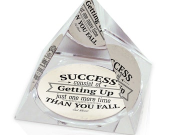 "Get Up One More Time Inspirational Quote Art 2"" Crystal Pyramid Paperweight"