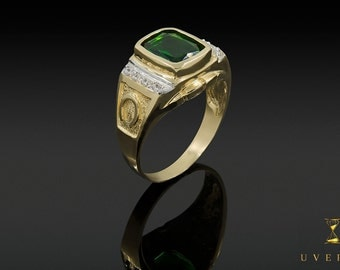 14k Solid Yellow Gold Men's Emerald Birthstone Ring Uverly Jewelry