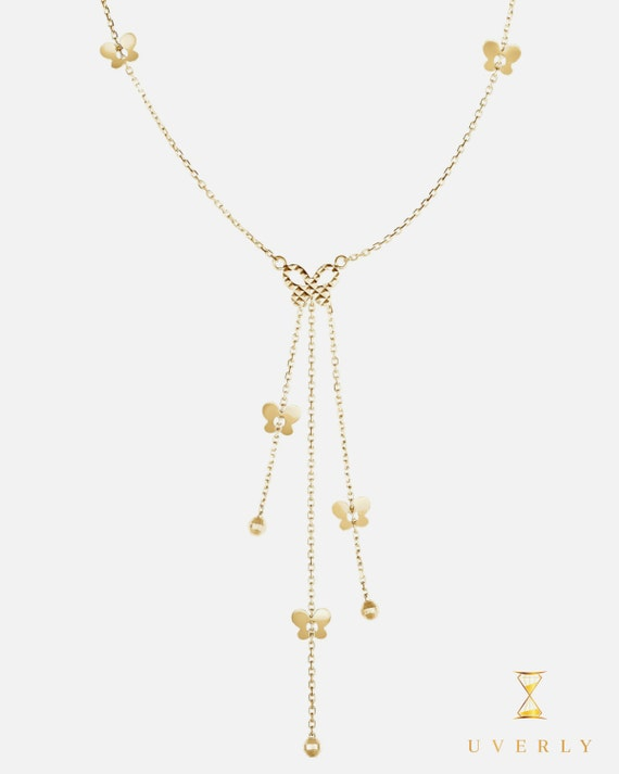 14k Solid Yellow Gold Womens Fancy Lariat Design Butterfly Charm Pendant Chain Necklace