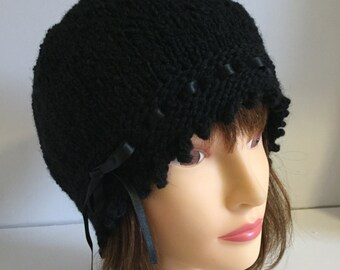 Black Knitted Hat, 1920s Hat, Black Beanie, Laced Ribbon Hat, Ladies Gift Hat, Gatsby Hat, Wool Hats, Winter Wool Hat, Christmas Wool Gifts
