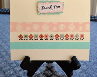 Thank You, Blank Thank You card, Washi tape cards, Homemade Thank You card, Pink and Blue cards, Floral cards, Greeting cards