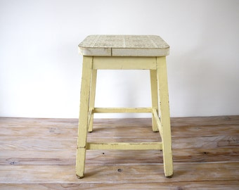 Vintage wooden stool, workshop yellow wood stool, industrial footstool, french vintage wooden stool, square wooden stool old patina