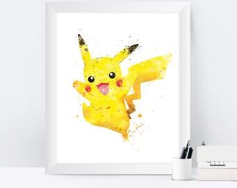Pokemon Pikachu Print, Pokemon Art, Pokemon Go, Pokemon Print, Pokemon Gifts, Christmas Gift, Nursery Pokemon Poster Wall Art Birthday Gift