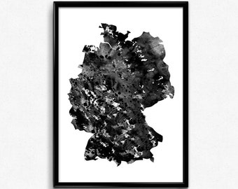 Germany  map, watercolor poster, watercolour art, Black and White Watercolor, Poster, Printable Wall Art, illustration map of Germany (715)