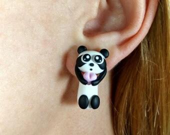 3D earrings Panda jewelry Double sided earrings Ear jackets Animal stud earrings Panda Animal jewelry Cute animals Valentines gifts