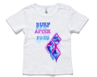 Burp After Food Baby T-Shirt 100% Cotton white and black 0-24 months sizes newborn watercolour