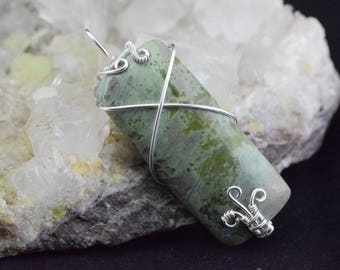 Epidote Wire silver plated copper wire Wrapping pendant