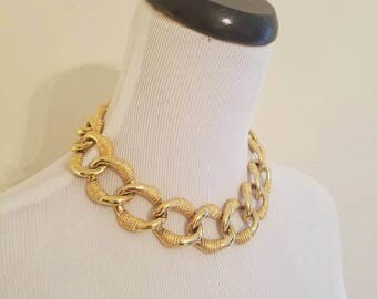 Vintage Gold Chain Link Necklace, Anne Klein Necklace, Gold Chain Link, Chain Link Necklace, Gold Choker