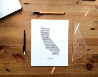 California Print - 8x10, Hand Drawn, Art Print, Wall Art, Home State Decoration, Gift for Him, Gift for Her, State Pride, Word Art