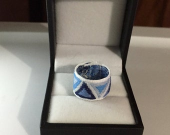 Blue and white triangle fabric ring, mountains, triangles, women's rings, fabric rings, fashion rings, gifts for teens, unique rings