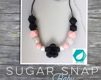 Silicone Beads -Chewlery Necklace Silicone Teething Beads Baby Chew Jewlery Baby Gift - Baby Shower Black Flower - Pearl and Pink Quartz