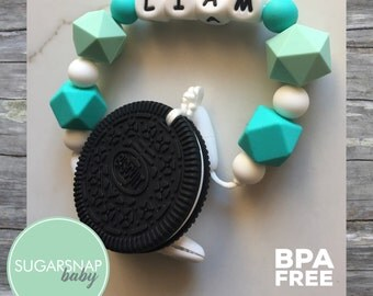 Personalized Pacifier and Teether - Baby - Toddler - Kids - Autism Toy - Newborn Gift - Oreo Cookie - Chew Toy - Silicone
