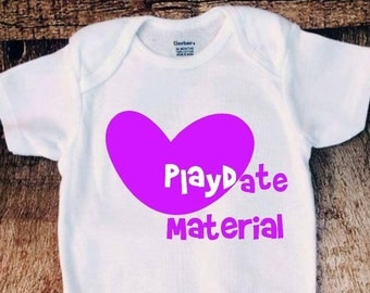 Playdate material onesie bodysuit, creeper, Baby girl or boy outfit, cute baby clothes, unisex onesie, 2017 baby shirts purple