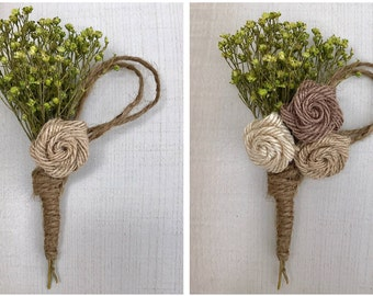 Rustic Burlap Rose Boutonniere Corsage, Green and Brown Boutonniere, Twine Boutonniere, Green Baby's Breath Boutonniere, Twine Wrapped
