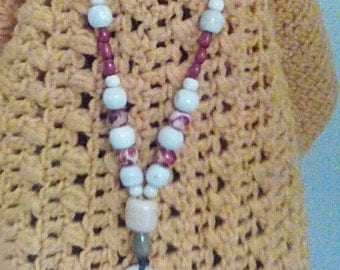 Red Blossom Reversible Beaded Necklace