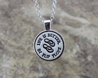 Life is Better in Flip Flops Handmade Pottery Necklace