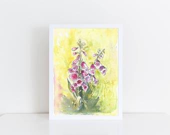 Watercolor Foxglove, Original Watercolor Painting, Foxglove painting, Original art, Mothers Day, 5x7, Gift, Art for home, Floral watercolor