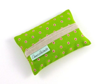 Green and Pink Polka Dot Pocket Tissue Holder, Pocket Tissue Case, Travel Tissue Case, Travel Tissue Pouch, Best Friend Gift