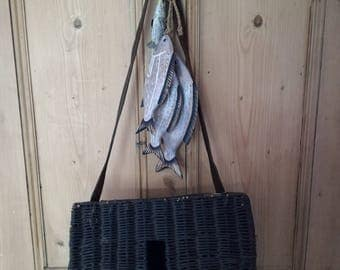 Vintage French Wicker Creel Fishing Basket with leather strap