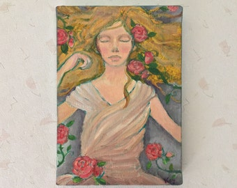 Sleeping Beauty: Original Acrylic Painting by Kyoko Watanabe