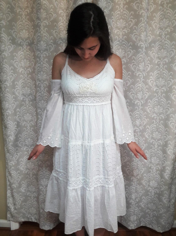 Boho beach wedding dress white hippie wedding dress beach for White hippie wedding dress