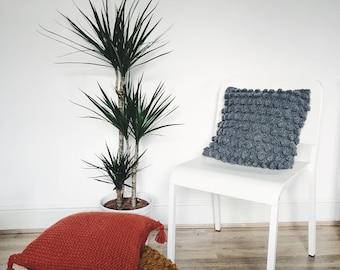 SALE! Chaima Cushion, Chunky Knit Cushion, Bobble Cushion, Handmade Cushion, Decorative Pillow, Home Decor, Grey Throw Pillow, New Home Gift